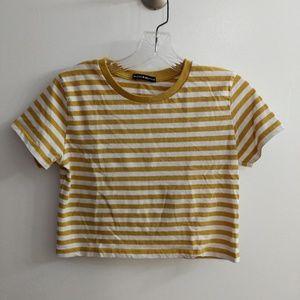 Brandy Melville yellow mustard striped crop top